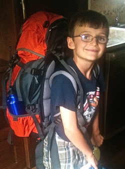 Here's my brother, Jacob, trying out his new RTW backpack.